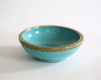 Round Vintage Turquoise Porcelain Bowl with Brass Rim from Italy
