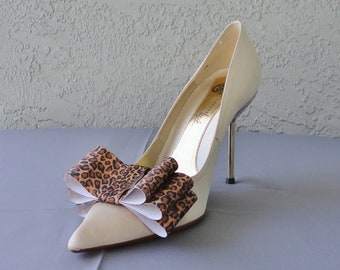 Leopard Print Satin Ribbon Bow Shoe Clips Set Of Two, More Colors Available