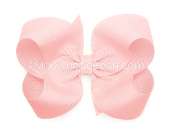 Baby Pink Boutique Bow,  Pale Pink Hair Bow, Light Pink 4 inch Grosgrain Bow, No Slip Basic Hair Bows for Girls Baby Toddler Hairbows