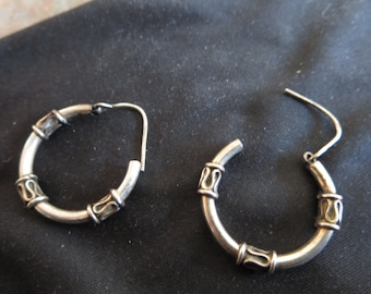 Balinese Sterling Silver Hoop Earrings