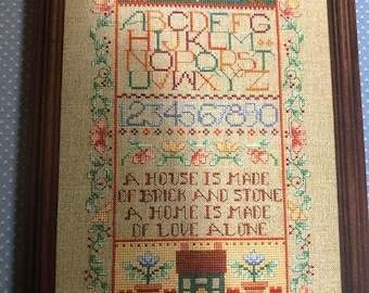 MAYniaSALE Dimensions, Home Sampler, Linda Gillum, #162 Vintage 1989 counted cross stitch design