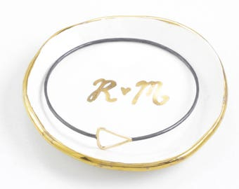 Heart Monogram Wedding Personalized Ring Dish