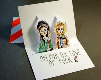 Grace and frankie card, pop up kaart, 3d card friendship, valentines gift