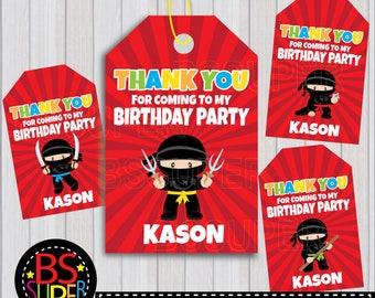 Ninja Party Favor Tags, Ninja Birthday Favor Tags, Ninja Thank You Tags