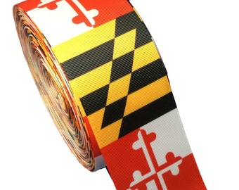 """3 Yards of 2 1/4"""" or NEW 3"""" Maryland Flag Grosgrain Ribbon"""