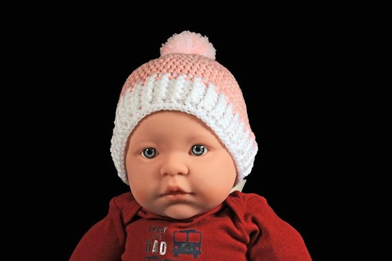 Winter Baby Hat, Crochet, Baby Girl's Hat, Handmade, Infant Winter Hat, 0-3 months,  Baby Shower Gift, Pull On Hat