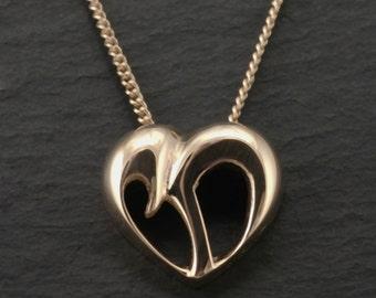 14K Womens Chai Pendant, Gold Chai Heart Cut-Out - Yonatan Collection