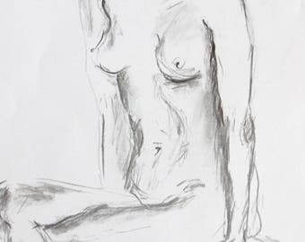 Original nude drawing of charcoal, nude in studio, A2, signed, sexy pose erotic body drawing