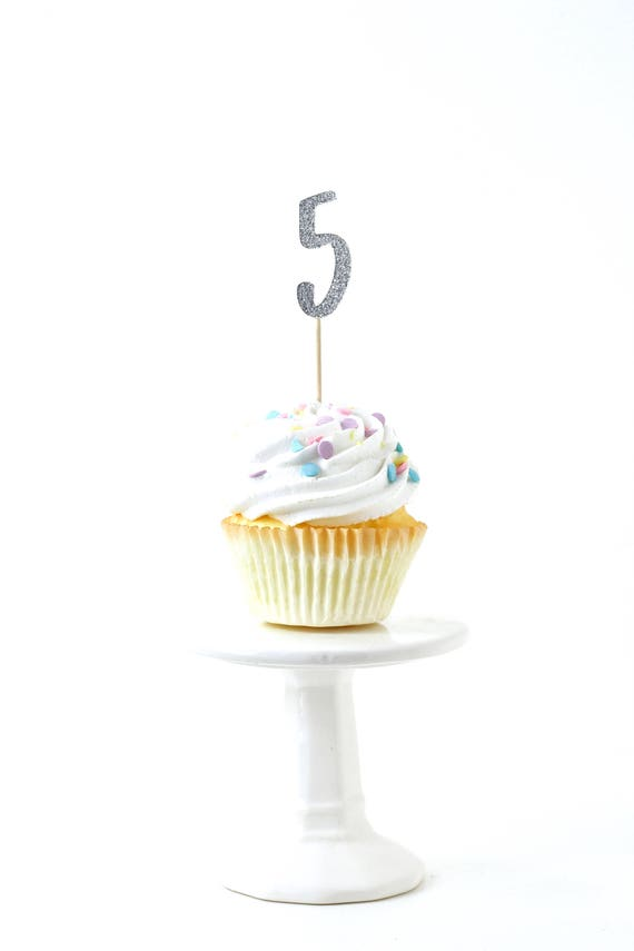 Number 5 Silver Glitter Cupcake Toppers, Number 5 Toothpicks, Silver Party Decor, Food Decoration, Fifth Birthday, 5th Birthday, Five Decor