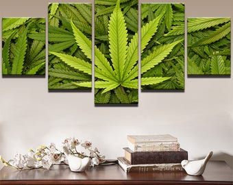 Weed Canvas Art, Weed Wall Art, Weed Plant 5 Piece Canvas Print, Weed Wall Decor, Canvas Art Framed