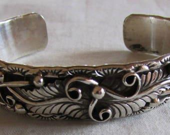 Navajo Ornate Sterling Silver Cuff Bracelet by Thomas Francisco