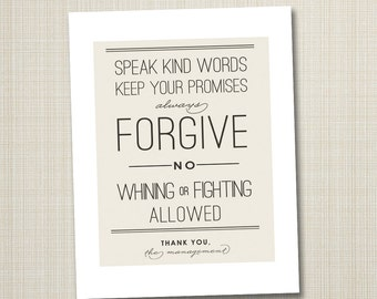 typography poster, quote print, inspirational art, nursery children decor - no whining 8x10