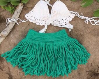 Hawaiian crochet mini cheeky green skirt - beach wear or Halloween costume 100%cotton