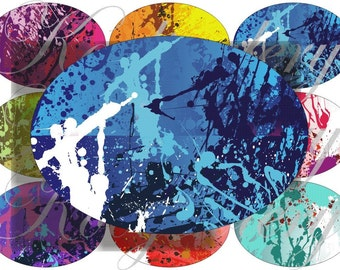 Abstract images large oval for belt buckle and more digital collage sheet No.619