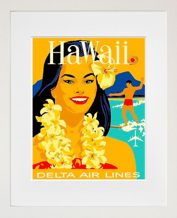Hawaii Travel Poster Hawaiian Wall Art Print Home Decor (ZT644)