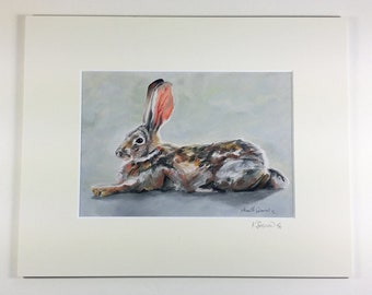Reclining cottontail - a giclee reproduction from an original oil painting of a desert cottontail resting by Karine Swenson