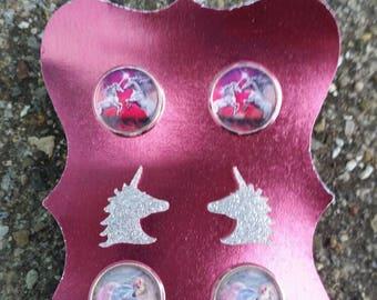 Unicorn earrings set pink silver