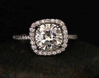 Cushion White Gold Moissanite Ring 14k with Forever Classic Moissanite Cushion 8mm and Diamond Engagement Ring