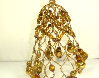 Vintage Gold Filigree Christmas Ornament, Wire, Mercury Glass Ball Beads, Wire, Bell Shape, Holiday Decoration  (468-15)