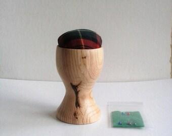 Ash Wood Egg Cup Pin Cushion  E83