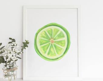 Lime Painting, Citrus Painting, Wall Artwork, Lime Wall Art, Fruit Watercolor, Art Print, Citrus Art Print, Lime Poster, Watercolor Lime