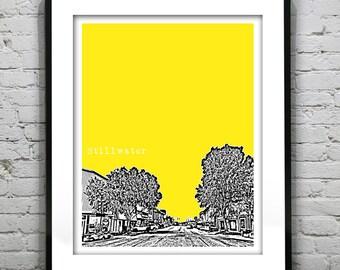 Stillwater Oklahoma City Skyline Poster Art Print OK
