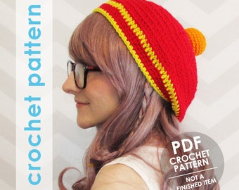 crochet hat pattern, dbz inspired slouchy beanie, four star dragonball hat, anime, crochet cosplay, halloween costume, crochet slouchy hat
