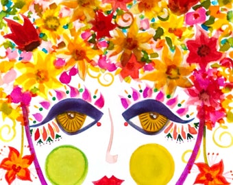 Meet Lily! A Gypsy Garden Girl - Carmen Miranda Inspired Face - Print from Original Watercolor Painting by Suzanne MacCrone Rogers