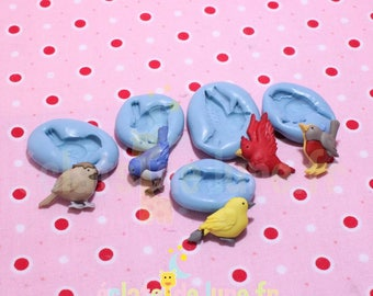 Set of 5 birds about 20mm silicone molds