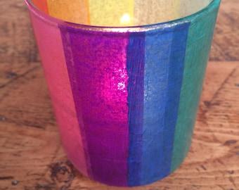 Rainbow Glass Candle Holder