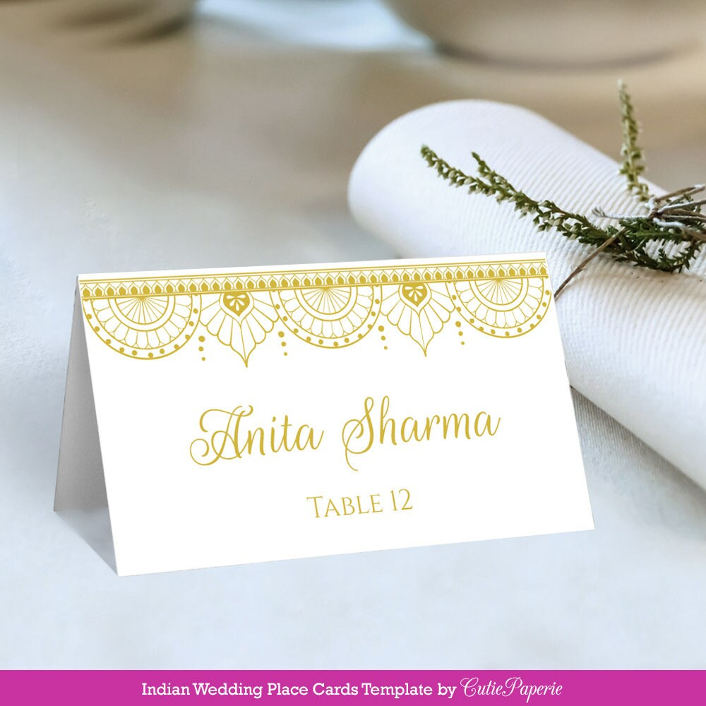 Wedding Place Cards Printable DIY Wedding Place Card Indian