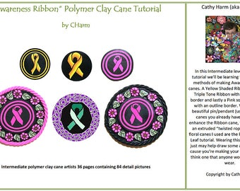 Awareness Ribbon polymer clay cane and Pin Project tutorial by CHarm