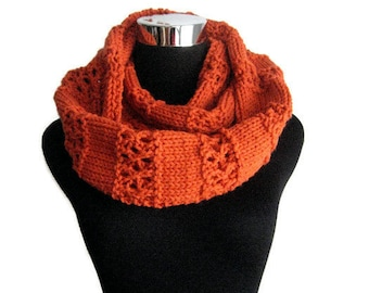 Pumpkin Lace Stripped Infinity Scarf, Cowl Scarf, Pumpkin Orange Knit Circle Scarf, Vegan Knit Scarf Infinity