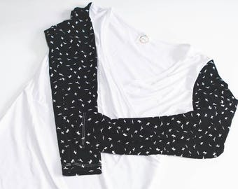 White birds nursing sweater. black long sleeve