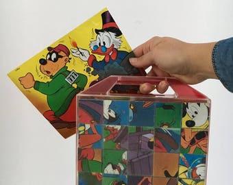 Vintage Puzzle Blocks Suitcase Donald Duck