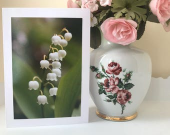 Lily of the valley flower greetings card