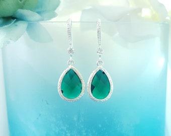 Emerald Earrings Dangle - Tear Drop Crystal Earrings CZ - Green Prom Jewelry - May Birthstone - Dark Green Earrings - Green Teardrop E2106