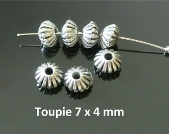 Set of 20 spacer beads silver tone antique spinning top with stripes, 7 x 4 mm, hole 1.2 mm