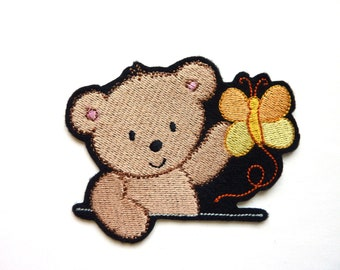 Applied fusible Teddy bear and Yellow Butterfly embroidery patch badge