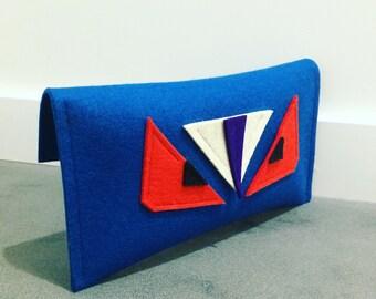 ArtAK Beastie Clutch. Merino Wool Felt. Unique handmade Lucury bags