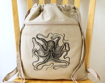 Octopus Canvas Backpack Laptop Bag