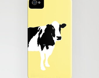 Cow on yellow on Phone Case -  Samsung Galaxy S7, iPhone 6S, iPhone 6 Plus, Gift Ideas, Gift for farm lovers, iPhone 8