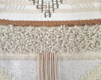 White & Cream Woven Wall Hanging
