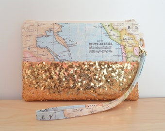 World Map Clutch Bag, Travel Gift, Bridal or Bridesmaid Clutch, Destination Wedding Clutch, Gold Wristlet, Christmas Gift for Her, Map Purse