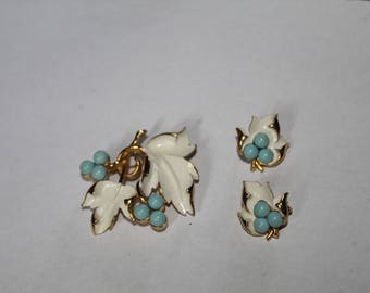 Vintage leaf brooch and clip on earrings - white, gold, and light blue