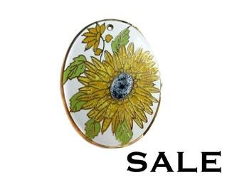 HUGE Vintage Spring Enamel Sun Flower Pendant (E519) - SALE 40% off