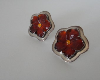 Signed sterling silver red hibiscus flower carved pierced earrings