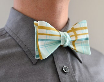 Men's Bow Tie in Mint and Gold- freestyle wedding groomsmen custom bowtie neck self tie green aqua metallic plaid white