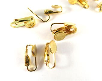 10 Gold Plated Flat Pad Clip On Ear Wire 17mm with 8mm Glue Pad - 10 pc - F4199EC-G10-M