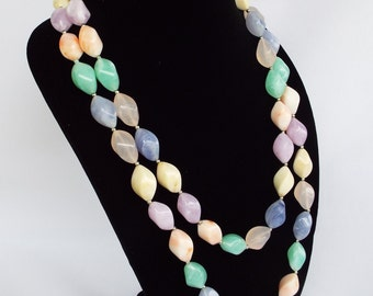 Vintage Multi Strand Marbled Pastel Lucite Bead Necklace